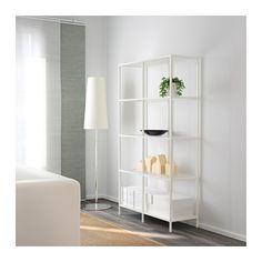 VITTSJÖ Shelving unit, white, glass white/glass 39 3/8x68 7/8