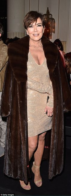 Kris Jenner, dressed in a chocolate brown fur coat and gold sequin dress, took to the FROW to cheer on daughter Kendall