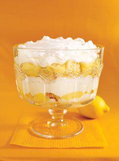 Lemon meringue trifle combines Italian meringue and sponge cake, making a tasty, citrusy dessert