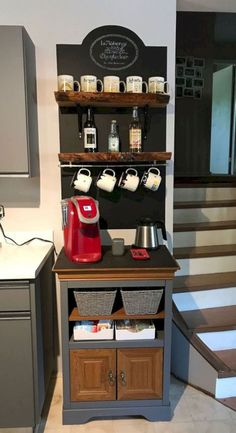 Just finished our coffee nook. - Just finished our coffee nook. Melinda Reisinger melindareisinger Melinda Reisinger Just finished our coffee nook. - Just finished our coffee nook. Coffee Bars In Kitchen, Coffee Bar Home, Home Coffee Stations, Coffee Themed Kitchen, Kitchen Bars, Coffee Area, Coffee Nook, Coffee Corner, Coffee Latte
