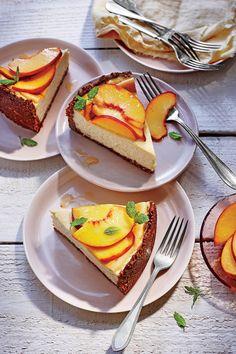 Peach-Ricotta Cheesecake with Pecan Crust