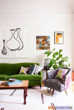 Yeşil Renk Ağırlıklı Oturma Odası Tasarımları   Moda Dekorasyon
