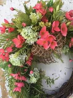 Spring Wreath For Front Door, Front Door Wreath, Salmon Wreath, Easter Wreath, Summer Wreath The beautiful salmon silk flowers really make this wreath pop! It is also filled with white and green snowballs, greens, ferns and an open-weave burlap bow. It will look perfect on your door,