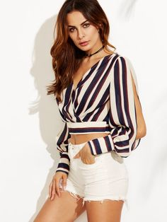 Striped split sleeve surplice front crop blouse -shein(sheinside) blusa corta a rayas Crop Top Outfits, Short Outfits, Casual Outfits, Cute Outfits, Blouse Styles, Blouse Designs, Girl Fashion, Fashion Outfits, Womens Fashion
