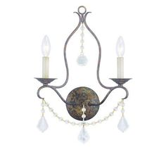 Livex Lighting 6422 Venetian Golden Bronze Chesterfield 2 Light Wall Sconce…