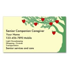 Senior Caregiver Business Cards. I love this design! It is available for customization or ready to buy as is. All you need is to add your business info to this template then place the order. It will ship within 24 hours. Just click the image to make your own!