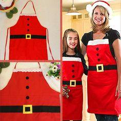 Avental de Natal de papai Noel Decorações De Natal para Casa Cozinha Jantar Pano Adulto Avental Vermelho Festivo Decoração Noel