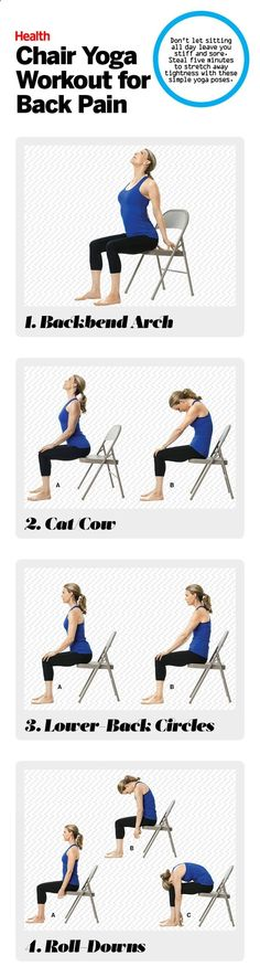 Easy Yoga Workout - These chair yoga poses work great for anyone with back pain. | Health.com Get your sexiest body ever without,crunches,cardio,or ever setting foot in a gym