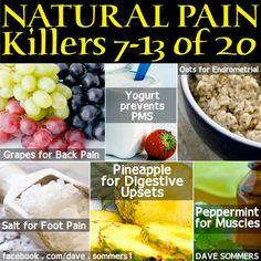 Natural Pain Remedies  •Grapes (back pain)  •Yogurt (prevents PMS)  •Oats (Endrometrial)  •Salt (foot pain)  •Pineapple (digestive upsets)  •Peppermint (muscle pain)