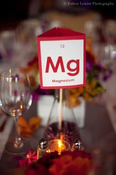 Elements of the periodic table as table cards in 500 mL erlenmeyer flasks at our science themed wedding