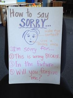 Teaching kids to say sorry & WHY they are actually saying sorry! Behaviour Management, Classroom Management, Ways To Say Sorry, How To Teach Kids, Help Kids, Discipline, Saying Sorry, How To Apologize, Character Education