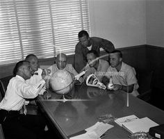 Five Project Mercury astronauts pose with a model of a spacecraft September 4, 1959 at Langley Air Force Base, Virginia. From left are Alan B. Shepard Jr., John H. Glenn Jr., Robert Gilruth, project director, Leroy G. Cooper Jr., Malcolm S. Carpenter and Virgil I. Grissom. Langley Air Force Base, Gus Grissom, Project Mercury, Katherine Johnson, Risky Business, The Final Frontier, Vintage Space, Astronauts, Space Travel