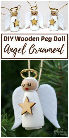 This DIY Angel Ornament is a beautiful homemade Christmas craft idea. An easy handmade holiday decoration for kids and adults to make using wooden peg dolls, felt and paint. Wainscoting, Easy Diy, Wall Trim, Timber Cladding, Wood Valance, Panelling