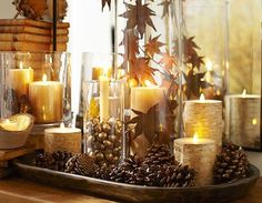 Pottery Barn Dough Bowl fall / Thanksgiving centerpiece with candles, pine cones, hurricanes, leaves. Mmmmm I love candles. Thanksgiving Decorations, Seasonal Decor, Christmas Decorations, Table Decorations, Thanksgiving Holiday, Harvest Decorations, Table Centerpieces, Autumn Decorating, Decorating On A Budget