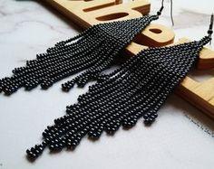 Minimalist beaded earrings, grey beaded earrings, fringe beaded earrings, metal beaded earrings, beaded earrings, sparkling beaded earrings