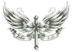 """Cross w/ Wings John 3:16 Temporary Body Art Tattoos 2.5"""" x 3.5"""""""