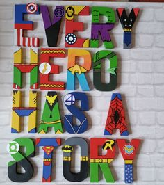 Superhero Letters - Personalised Hand Painted Papier Mache letters - Super Hero Letter Kids Name - MADE TO ORDER Papier Mache hand painted letters letter names If you require a longer name please look at my other listing: Superhero Letters, Superhero Names, Superhero Classroom, Superhero Party, Superhero Room Decor, Boys Superhero Bedroom, Superhero Bathroom, Superhero Pictures, Painted Letters
