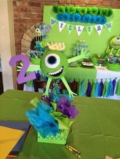Monsters University Centerpiece by Bizzie Bee Creations Monster Party Favors, Little Monster Party, Monster Inc Party, Monsters Inc Baby Shower, Monster Baby Showers, Monster 1st Birthdays, Monster Birthday Parties, First Birthday Party Themes, 3rd Birthday