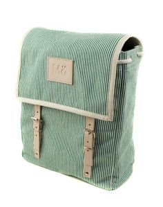 Green Stripe Canvas Backpack