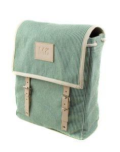 Green Stripe Canvas Backpack.