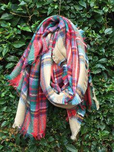 Plaid Pine Needle Blanket Scarf