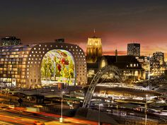 Rotterdam Markthal and Laurens Church