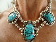 STUNNING Navajo Spiderweb Turquoise and Sterling Choker Necklace