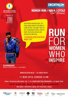 DECATHLON Run Series - March For Women 11th March | Sunday | 5:30AM - 8:30AM Category: 0.8KM | 8.0KM | 4.4KM Registration Fees - INR 175 For any query call us at +91 98405 75555  https://eventjini.com/march www.ezoneindia.co.in