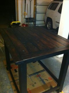 UPDATE: Just posted the full project here! Check out how to do this yourself, step by step, complete with cut sizes and photos!    Just finished this table! Put about a half weeke