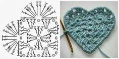 Corazon crochet patron y modelo,blog con baberos º