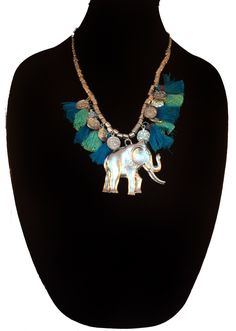 Bohemian Necklace,Tassel Bib Necklace,Statement Jewelry,Silver Elephant Necklace, Boho chic gypsy jewelry by Taneesi by taneesijewelry on Etsy