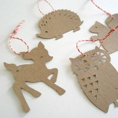 Gift Tags forest friends - Kraft - Set of 4. $10.00, via Etsy.