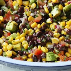 This colorful, high fiber, high protein salad makes a great side dish, appetizer served with chips, or lunch served with fresh tortillas. This salad is low in saturated fat and loaded with antioxidants.
