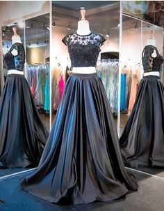 Modest Cap Sleeves Prom Dress, Two Piece Prom