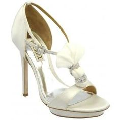Badgley Mischka Women's Dani Platform Sandal, White Satin, 8 M US  #Badgley_Mischka #Shoes
