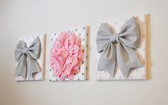 "THREE - Wall Decor - Large Gray Bows and Light Pink Dahlia on Polka Dot 12 x 12"" Canvases Wall Art - Pink and Gray Baby Nursery Wall Decor -"
