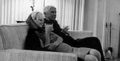 Marilyn and Carl Sandburg at a party at the home of producer Henry Weinstein. Photo by Arnold Newman, January 20th 1962.