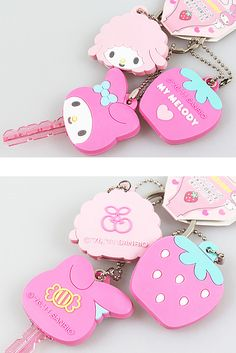 My Melody keychains and key covers. ♥