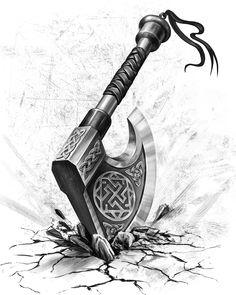 ArtStation - The axe, Maria Sofronova Whenever you locate and also create a great Viking Viking Tattoo Sleeve, Norse Tattoo, Sleeve Tattoos, Armor Tattoo, Warrior Tattoo Sleeve, Inca Tattoo, Viking Symbols, Viking Runes, Mayan Symbols