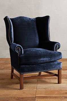 Shop designer furniture and unique furniture at Anthropologie from lush sofas to dining tables for your bedroom, living room, dining room and more. Velvet Wingback Chair, Velvet Accent Chair, Velvet Furniture, Accent Chairs, Furniture Chairs, Velvet Chairs, Wingback Chairs, Dining Chairs, Navy Velvet Chair