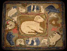 Shep's World, Kathy at Briarwood Folk Art, 36 by 28.  Looks like my beloved golden retriever, Bear.  Great rug, Kathy!