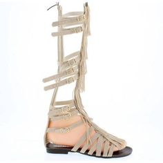 Shoes of Soul Women's Fringe Strappy Long Sandal, Size: 9, Beige