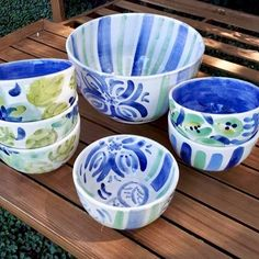 Pottery Bowls, Hand Painted Ceramics, Food Containers, Clay, Tableware, Projects, Crafts, Painting, Ideas