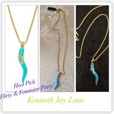 ✨HP-Gold & Turquoise Pendant Necklace✨ NWT Description: 22K gold plated base metal necklace with turquoise enamel pendant detail and wrapped clear crystal accent  24 inches long 2½ inch pendant drop Hook closure Material: 22K gold tone plated base metal, enamel, and glass.   Brand: Kenneth Jay Lane. Listed at $30 Kenneth Jay Lane Jewelry Necklaces