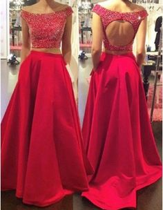 Cheap Nice Prom Dresses A-Line Two Piece Prom Dress/Evening Dress - Red Off-the-Shoulder A-Line Beading Evening Dress Cheap, Prom Dresses, Red Prom Dress, A-Line Prom Dress, Two Pieces Evening Dress Prom Dresses 2019 Prom Dresses Two Piece, Open Back Prom Dresses, Prom Dresses 2018, Backless Prom Dresses, Dance Dresses, Evening Dresses, Dress Long, Dress Prom, Grad Dresses