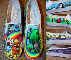 made for a costumer who bought our shoes on etsy click the link if you would like to order a pair -------->[link] Adventure time shoes 3 Adventure Time Shoes, Adventure Time Parties, Finn The Human, Jake The Dogs, What Time Is, Bubbline, Shoe Art, Painted Shoes, Diy Clothes