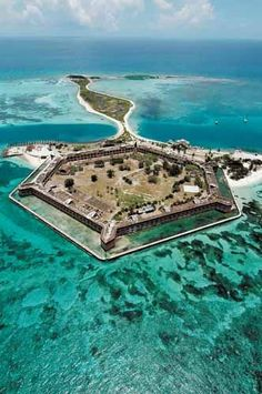 Dry Tortuga. 70 miles off Key West. I didn't know this was down there -  This remote part of the Florida Keys is accessible only by private vessel, high-speed ferry, or seaplane.