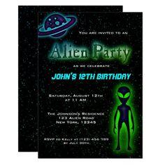 Super Cool Alien Birthday Party Invite Funny Birthday Invitations, Party Invitations Kids, Zazzle Invitations, Birthday Diy, Birthday Cards, Birthday Gifts, Birthday Ideas, Alien Party, Planet For Kids