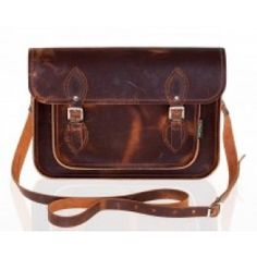 Distressed Brown Leather Satchel