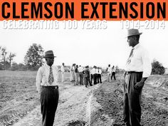 Orangeburg County Agent G. W. Daniel, Assistant County Agent Quincy Smith and other County Agents inspect new terrace construction during their one-day training period on land capabilities and proper conservation treatments. 1949. Courtesy of Clemson University Special Collections. #ClemsonExt100